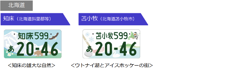 北海道 知床、苫小牧のご当地ナンバーのデザイン
