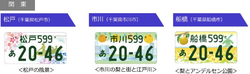 関東 松戸、市川、船橋のご当地ナンバーのデザイン