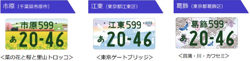 関東 市原、江東、葛飾のご当地ナンバーのデザイン